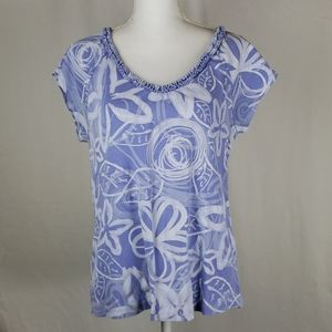 Fresh produce floral purple tee XL ruffle collar